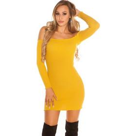 e2bf9bd43d 41928 FS Πλεκτό έξωμο ριπ φόρεμα - Μουσταρδί
