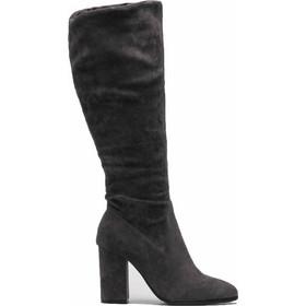 Suede μπότες με τετράγωνο τακούνι και φερμουάρ - Γκρι 1ae052b6de8
