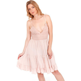 a3d6b99615a6 Ρόζ Mini Φόρεμα με Δαντέλα Κιπούρ και Άνοιγμα στην Πλάτη Ρόζ Silia D