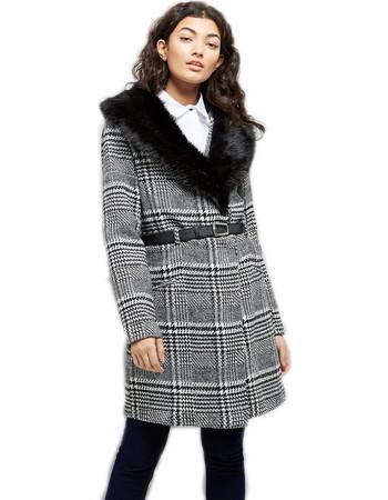 Καρώ παλτό με γούνα 46f7acfb875