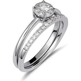Δαχτυλίδι διπλό από λευκό χρυσο 18 καρατίων με illusion μονόπετρο και  μισόβερο με διαμάντια 0.41ct da69cc2bc01