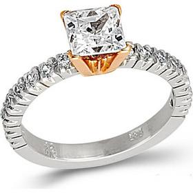 Δίχρωμο λευκόροζ γυναικείο μονόπετρο δαχτυλίδι με ζιργκόν 332BLLAV40 5bec049bda2