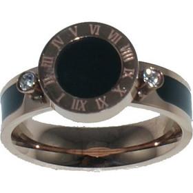 Ατσάλινο δαχτυλίδι Art Collection N-02326 σε ροζ χρυσό χρώμα με μαύρο σχέδιο f5ff7f3bd69