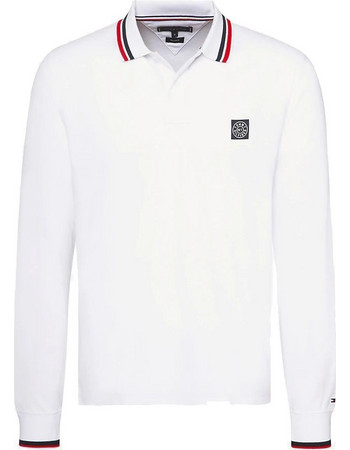 7a97fc1a6739 ΜΠΛΟΥΖΑ TOMMY SOLID TEXTURE BADGE LS REG POL(White) MW0MW09519 White. Tommy  Hilfiger
