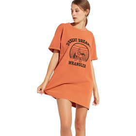 69ce5bb974 Wrangler γυναικείο φόρεμα Tee Dress Burnt Ochre - W9073GF3B - Πορτοκαλί
