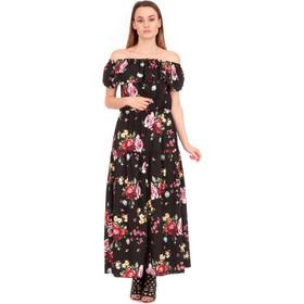 dc9e809b0443 Μαύρο Φλοράλ Strapless Maxi Φόρεμα Μαύρο Silia D