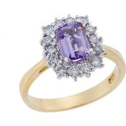 Ροζέτα Δαχτυλίδι με Διαμάντια και Σμαράγδι Χρυσό 18Κ Δίχρωμο 751ffaea192