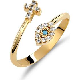Δαχτυλίδι Μοντέρνο Χρυσό Σταυρός Και Ματάκι Με Ζιργκόν - 002452 f6d37ad97ab