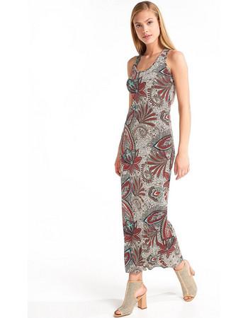 Μάξι φόρεμα με σχέδια και λουλούδια - Γαλάζιο d4f4f19d1aa