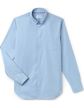 Ανδρικό πουκάμισο μονόχρωμο mini pique Lacoste - CH9623 - Γαλάζιο 99de8f76bae