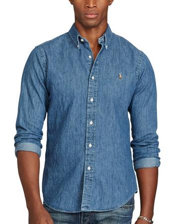 Polo Ralph Lauren ανδρικό πουκάμισο Slim Fit Denim Sport Shirt -  710548539001 - Μπλε a3a1ffe0e12