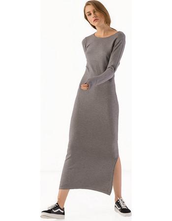 Μακρύ πλεκτό εφαρμοστό φόρεμα με σκίσιμο στο πλάι - Γκρι 4ab601f8975