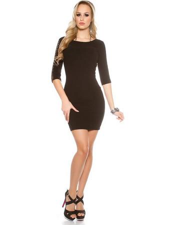 cef7b4f530a4 41763 FS Μίνι φόρεμα με ανοιχτή πλάτη και μανίκι 3 4 - μαύρο