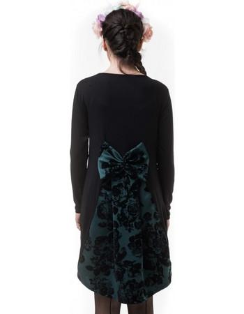 ee8912218876 Μαύρο Κοντό Φόρεμα με Βελούδινο Φιόγκο   Ουρά