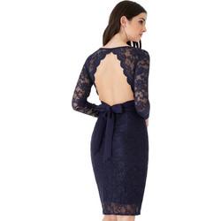 5fcfde4587ed Ροματικό μακρυμάνικο μίντι φόρεμα με δαντέλα και άνοιγμα στην πλάτη-Navy  Μπλε