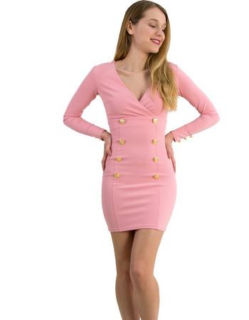 Γυναικείο φόρεμα κρουαζέ με κουμπιά ροζ Brown Sugar 014000009R e5c435f72b0
