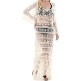 d6394285458d Lely Wood maxi crochet (πλεκτό) φόρεμα με κεντημένο τούλι στα μανίκια 784252