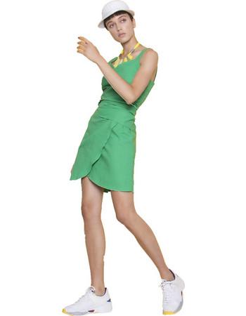 30803a0db9e8 Μονόχρωμο μίνι φόρεμα με δέσιμο - Πράσινο