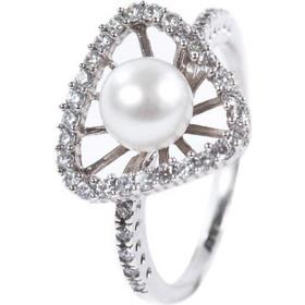 Γυναικείο καρδιά δαχτυλίδι σε λευκό χρυσό Κ14 με ζιργκόν και μαργαριτάρι 3a622d6f3f2