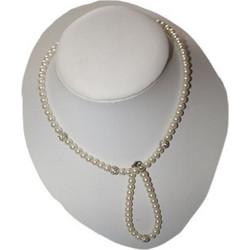 Κολιέ σέτ βραχιόλι πέρλες μαργαριτάρια φώ με μεταλλικές χάντρες στράς d11119a7792