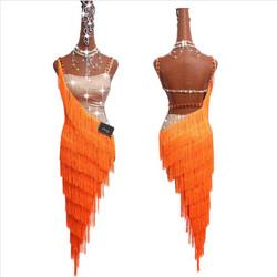 8a39b82ae5b Γυναικείο πορτοκαλί φόρεμα Latin χορού με κρόσσια L45 7745