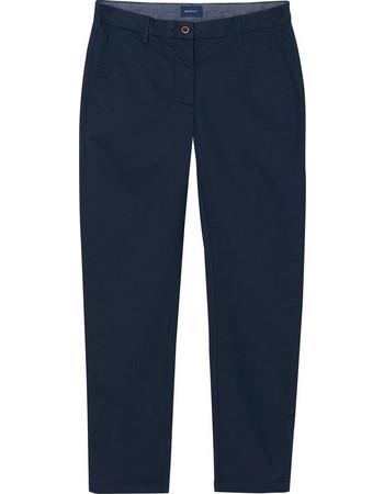 95c6d64a5b08 Γυναικείο cropped μονόχρωμο παντελόνι GANT - 4150025 - Μπλε Σκούρο