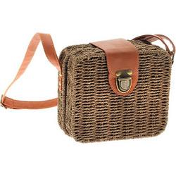 6cfb235f2a Ms07 Ψάθινη Τετράγωνη Τσάντα με Κούμπωμα χρ. Καφέ