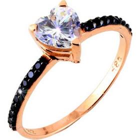 Μονόπετρο δαχτυλίδι από ροζ χρυσό Κ14 με μαύρα ζιργκόν DMN387RB-A 92d1bac1412