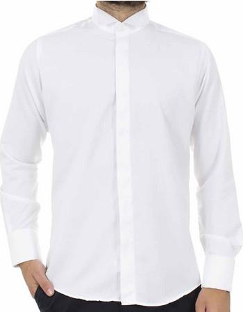 Ανδρικό Μακρυμάνικο Πουκάμισο με Γιακά για Παπιγιόν CND Shirts 80 Λευκό d27d1b2cfa8