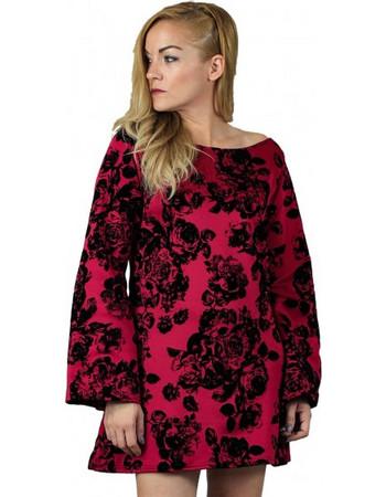 Lovender Μπορντό Φόρεμα Βελούδο με Μανίκι Καμπάνα e92053c4957