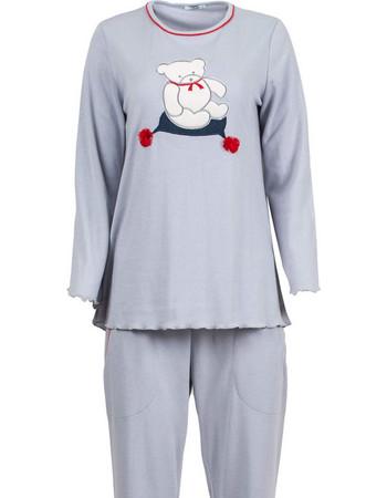 Luna γκρι βαμβακερή γυναικεία χειμωνιάτικη πιτζάμα με αρκουδάκι (λαιμόκοψη)  LU974 2fd72dbdd3e