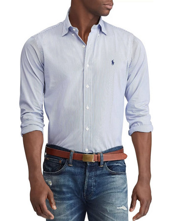 POLO RALPH LAUREN Slim Fit Striped Poplin Shirt - Blue White - 710705269003 576c6680389