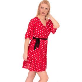 d31278bd64df Κόκκινο Πουά Mini Φόρεμα με Βολάν και Ζωνάκι Κόκκινο Silia D