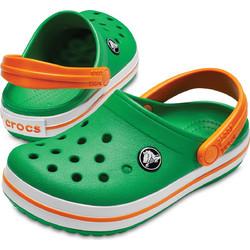 45ce62cfb0f Crocs Παιδικά παντοφλάκια-σαμπό Crocband Kids Grass green/White/Blazing  orange 204537-