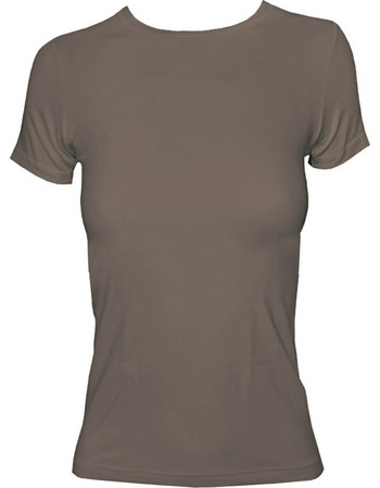 e0d20614ee01 Γυναικείο T-shirt με κλειστή λαιμόκοψη από modal και βαμβάκι Jadea 4180 Μόκα