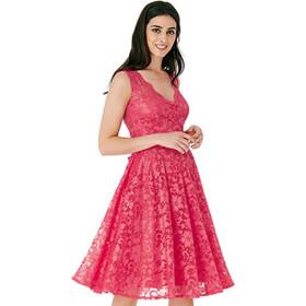6457ac92f1ed Μίντι φόρεμα με δαντέλα και άνοιγμα στην πλάτη - Κοραλί