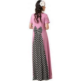 09135d7aad3f Ροζ Μακρύ Φόρεμα με Φιόγκο στην Πλάτη και Ουρά Μαύρο Πουά