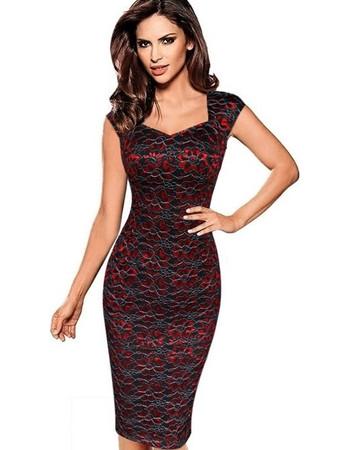 419098b5b6bf Female European and American V Neck Lace Printed Dress Graceful Slim Pencil  Skirts One-step