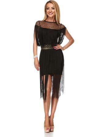 9186 RO Μίντι φόρεμα με κρόσια και χρυσή ζώνη - μαύρο ea5ba506735