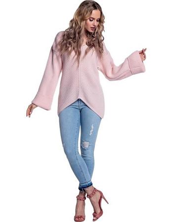 7273bd062402 80111 BY Ασύμμετρο πουλοβερ με φαρδιά μανίκια - Ροζ