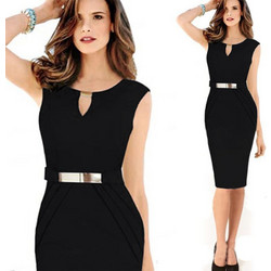 8824313b4356 European and American New Style Female Metal Buckle Small V-collar Skirts  Graceful Slim Pencil