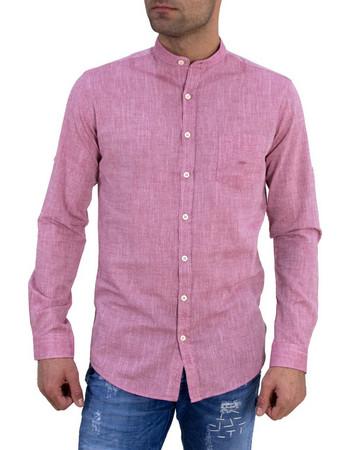 Ανδρικό λινό πουκάμισο GioS κόκκινο μάο γιακάς 922018C e1d0248d7da