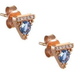 Σκουλαρίκια τρίγωνα από ροζ χρυσό 18 καρατίων με μπλε ζαφείρια και διαμάντια.  SP24130 be374e28e2f