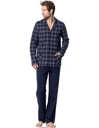 Vamp αντρική χειμωνιάτικη πυτζάμα καρό κουμπωτή μπλούζα navy παντελόνι 5041 e495dd6514c