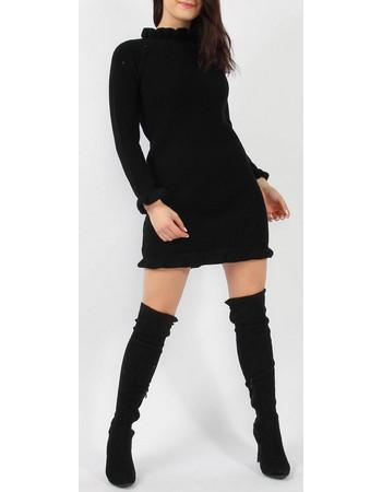 Μαύρο πλεκτό φόρεμα με βολάν a6d8d81cbbe