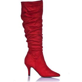 Μπότες κόκκινες σουέτ μυτερές με σούρες 381540red. Tsoukalas Shoes 491fb8e90b1