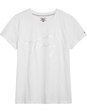 SATIN TOMMY SIGNATURE T-SHIRT ΓΥΝΑΙΚΕΙΟ TOMMY HILFIGER DW0DW05718-100 f74012f0217