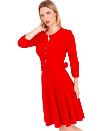 Κόκκινο Midi Φόρεμα με Φερμουάρ Κόκκινο Silia D 8f93c41c08f