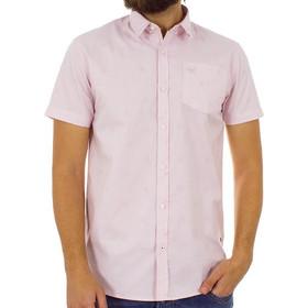 57040e2b8356 Ανδρικό Κοντομάνικο Πουκάμισο Slim Fit Aloha Oxford Shirt DOUBLE GS-463S  ανοιχτό Ροζ