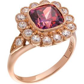 Δαχτυλίδι ροζέτα από ροζ χρυσό 14 καρατίων με κόκκινο-μωβ ζιρκόν στο κέντρο  και λευκά 386413fd8de
